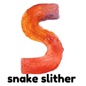 S is for snake slither gross motor activity part of an abc exercise for kids