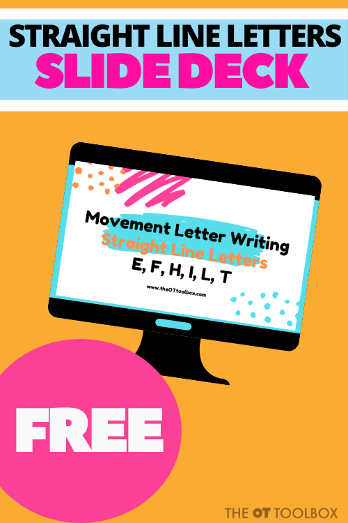Teach kids to write straight line letters with this free virtual therapy slide deck
