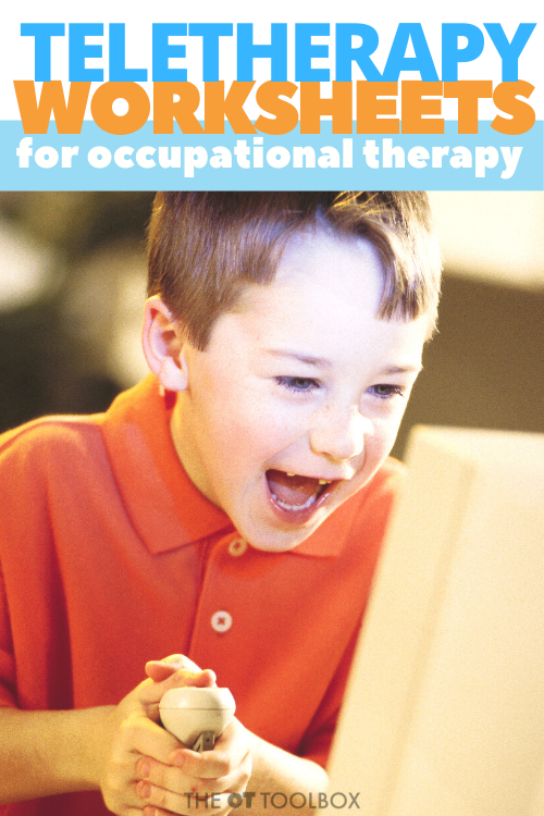 Occupational therapists use worksheets in teletherapy sessions to work on visual motor skills and visual skills like scanning and perception.