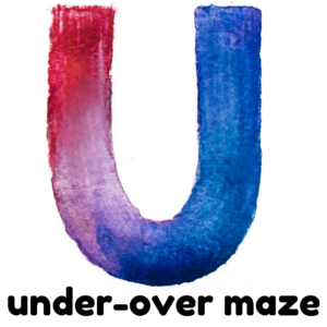 U is for under over maze gross motor activity part of an abc exercise for kids
