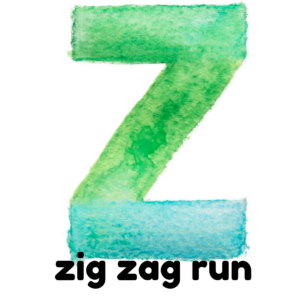 Z is for zig zag run gross motor activity part of an abc exercise for kids