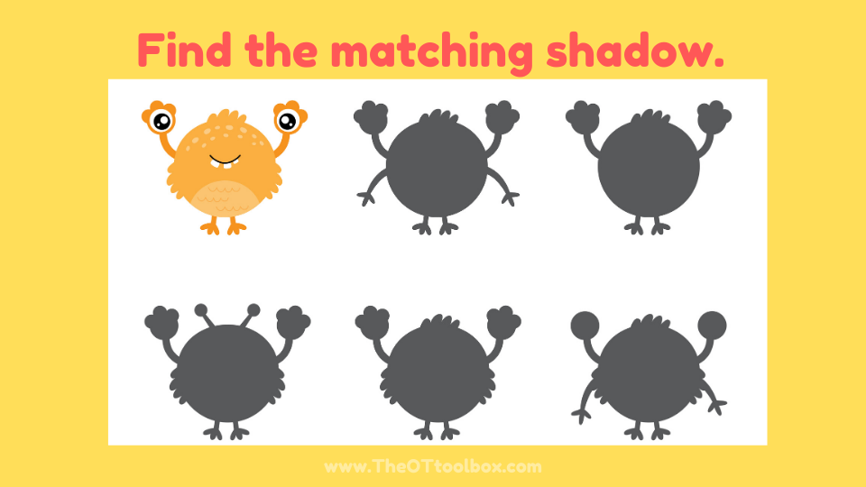 A monster visual perception activity for ot sessions.
