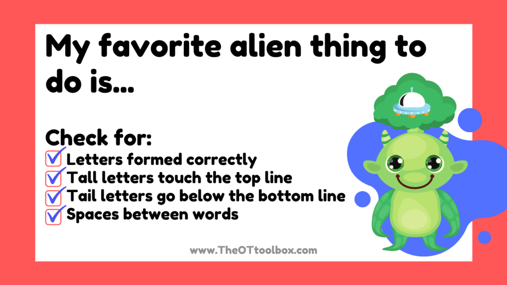 Space handwriting activity for kids