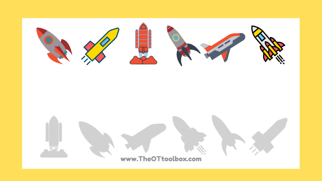 Rocket ship activities for kids to work on visual perception