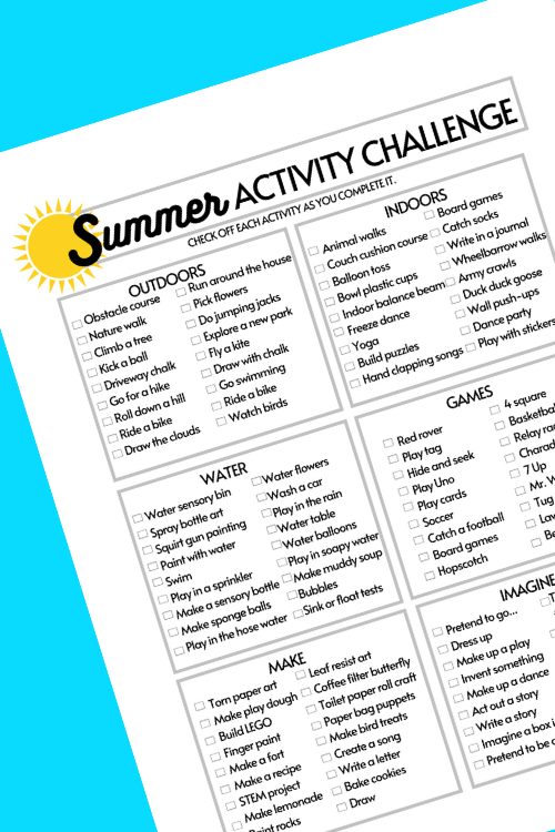 use this activity challenge for kids that are bored this summer or to use in ot home programs