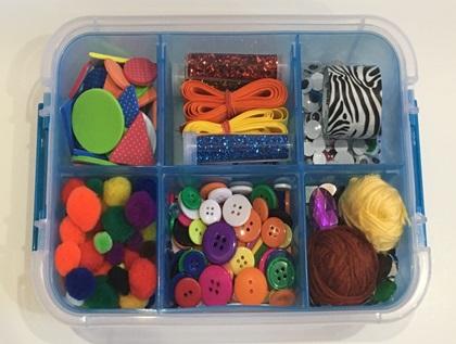 Kids craft supplies in a craft kit