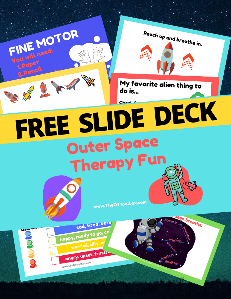 This free slide deck uses space activities and an outer space theme for kids