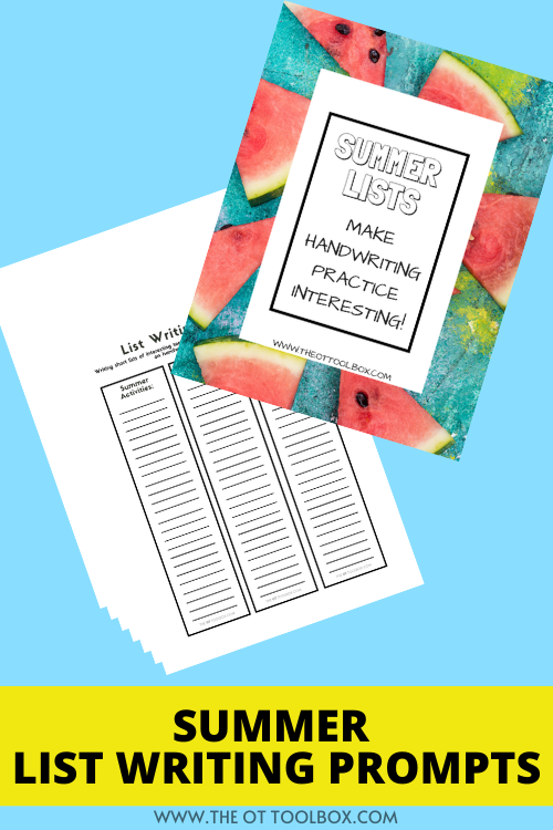 summer list writing prompts