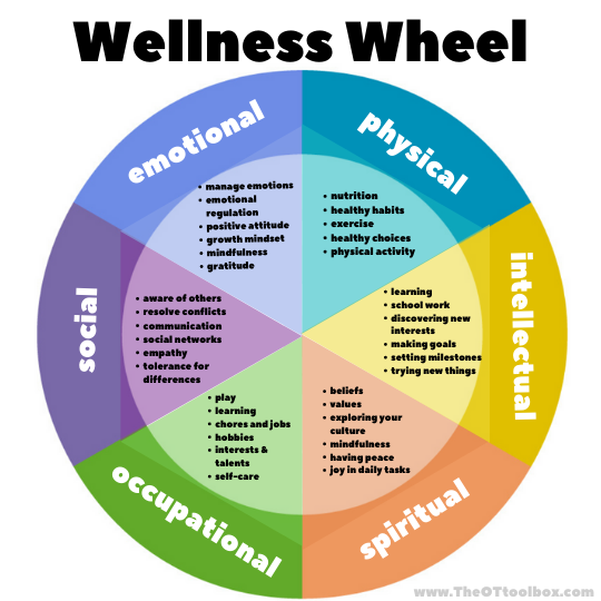 Wellness wheel for describing components of wellness for kids and families.