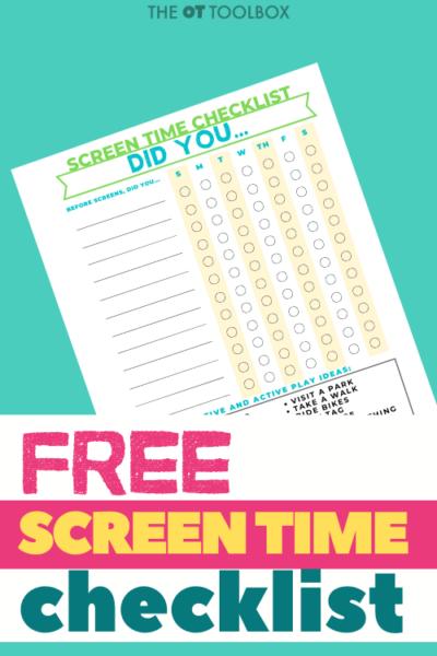 free screen time checklist