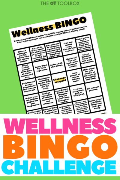 Wellness bingo game to use to build overall well being and a balanced health and wellness state.