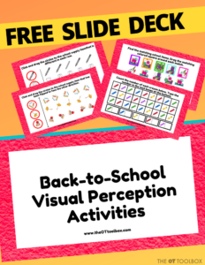 Back to school activities with a free occupational therapy slide deck.