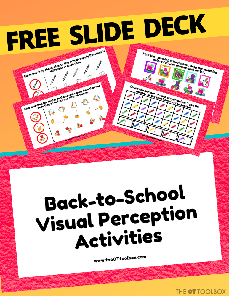 Back to school activities with occupational therapy teletherapy slide deck to work on visual perception with a back to school theme.