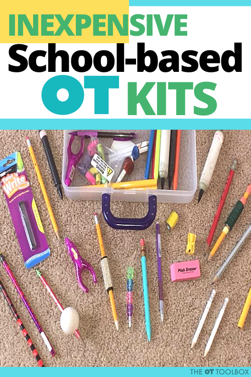 School based occupational therapy will have trouble using shared materials and equipment. OTs can create inexpensive school based OT kits for students.