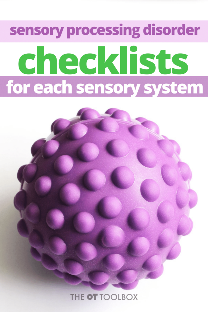 Sensory Processing Disorder checklists for each sensory system
