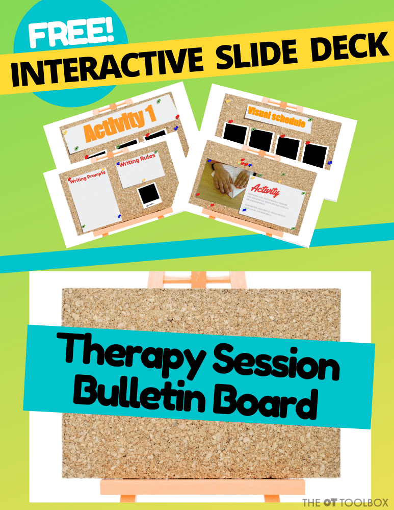 Therapy planning for teletherapy with an interactive slide deck and therapy bulletin board.