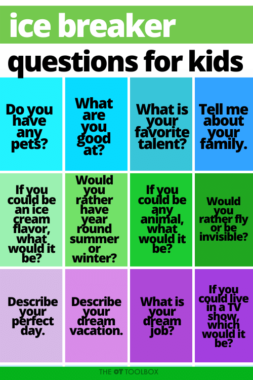 Icebreaker questions for kids for the first day of school or therapy.