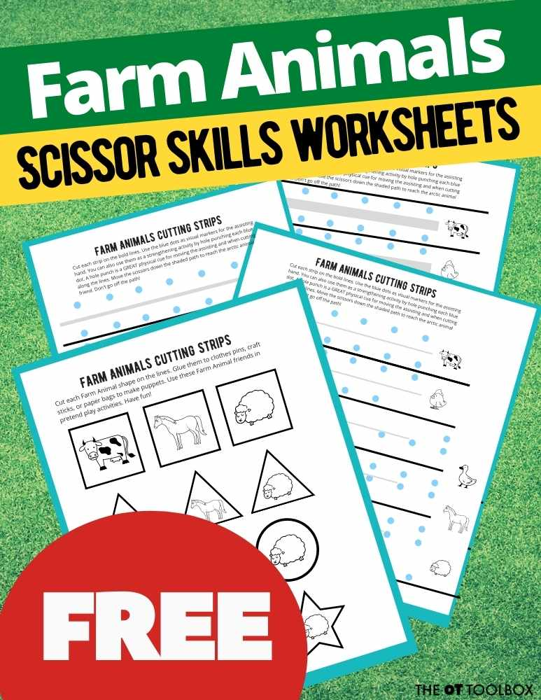 These animal farm worksheets are great for building scissor skills in young kids to work on cutting on lines.