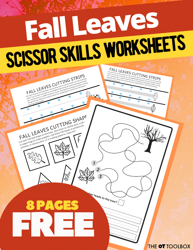 Fall worksheets including printable fall sheets for scissor skills and visual motor skills.