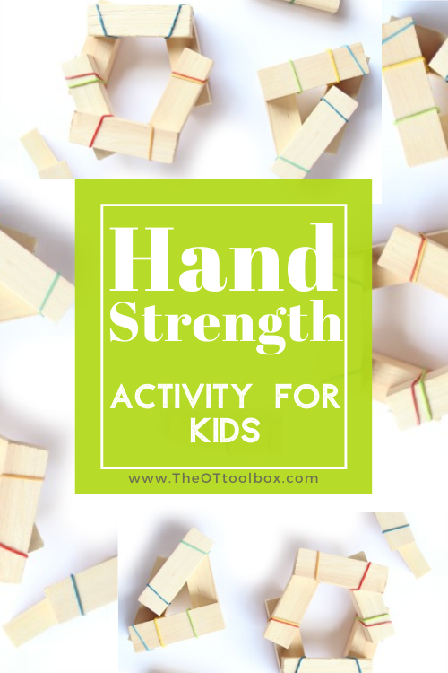 These hand strengthening activities use just rubber bands and blocks. Also included are hand strengthening activities with many materials.