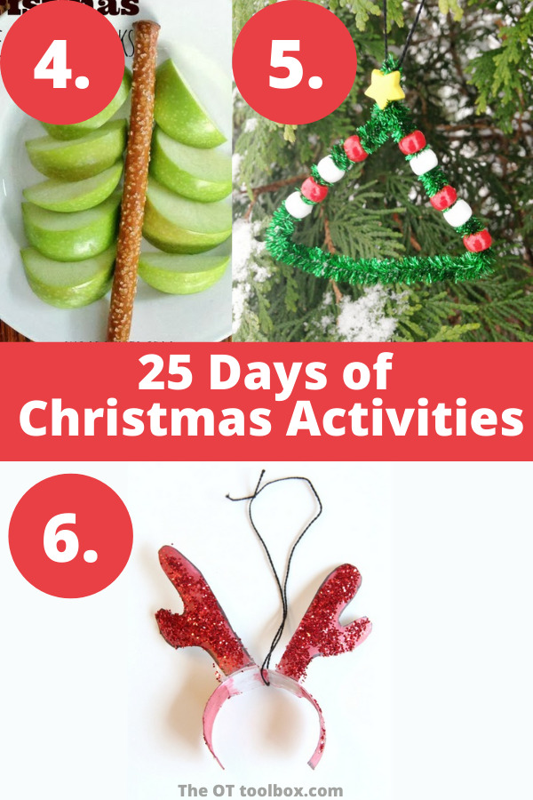 25 days of Christmas ideas including Christmas kids crafts, Christmas snacks.