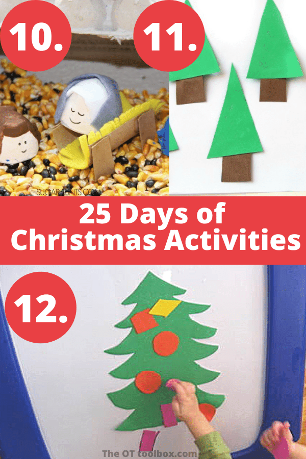 Christmas play ideas for kids including sensory bins, fine motor play and pretend play.