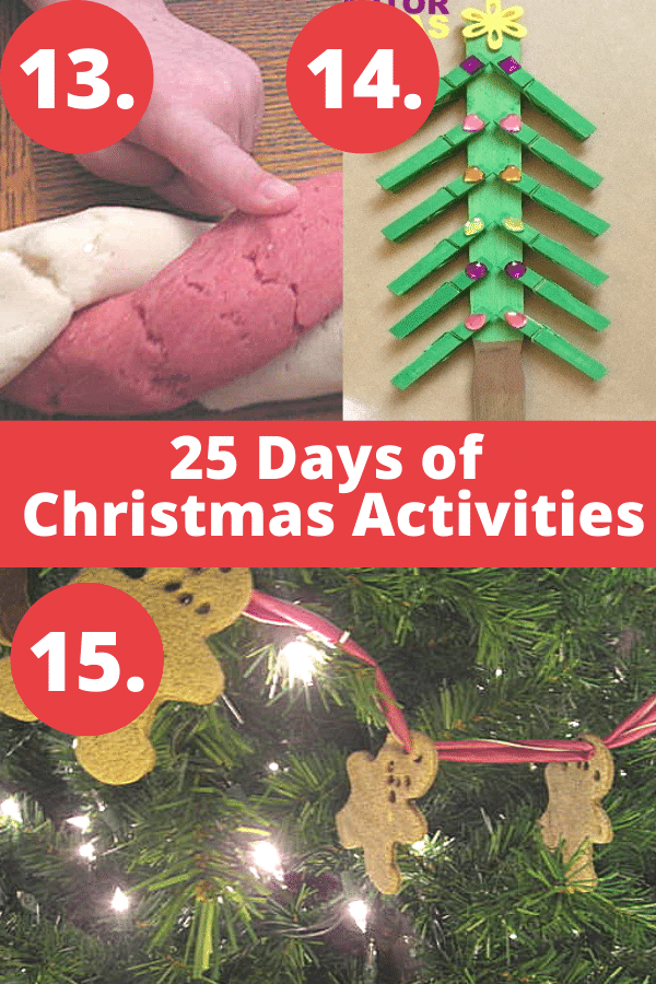 Christmas play ideas involving peppermint scented play dough, gingerbread play dough, and Christmas tree crafts