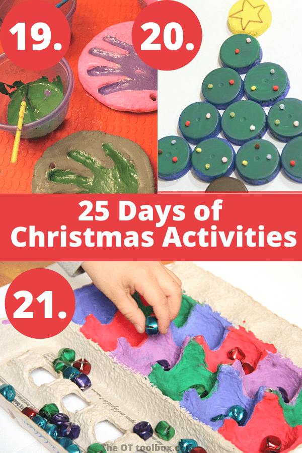 25 days of Christmas play including handprint ornaments, Christmas tree crafts, and and fine motor play.