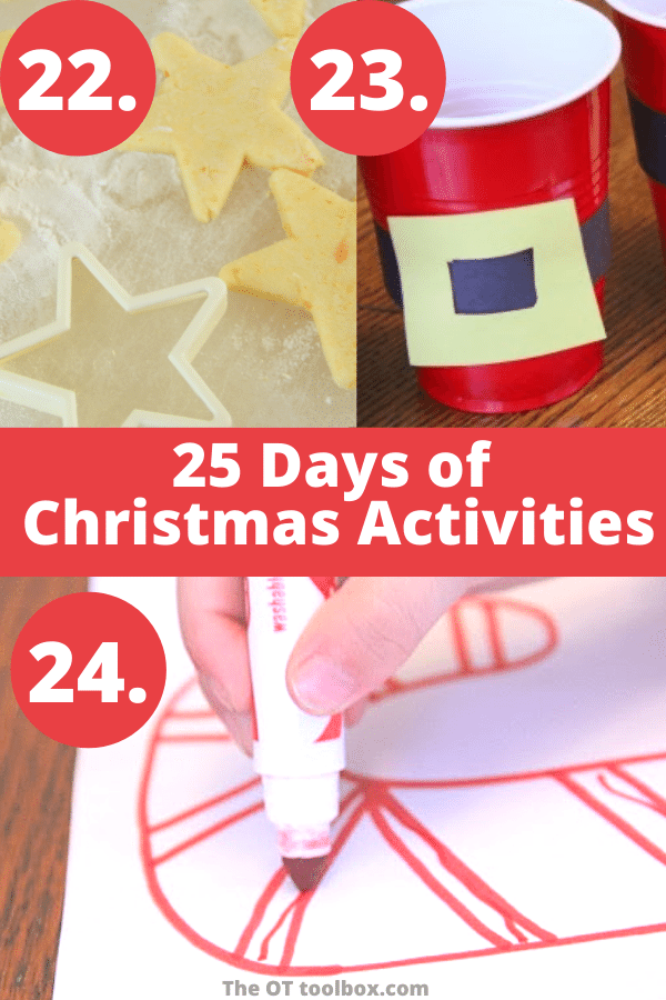 Christmas sensory play ideas including scented play dough, Christmas snack cups and candy cane activities.