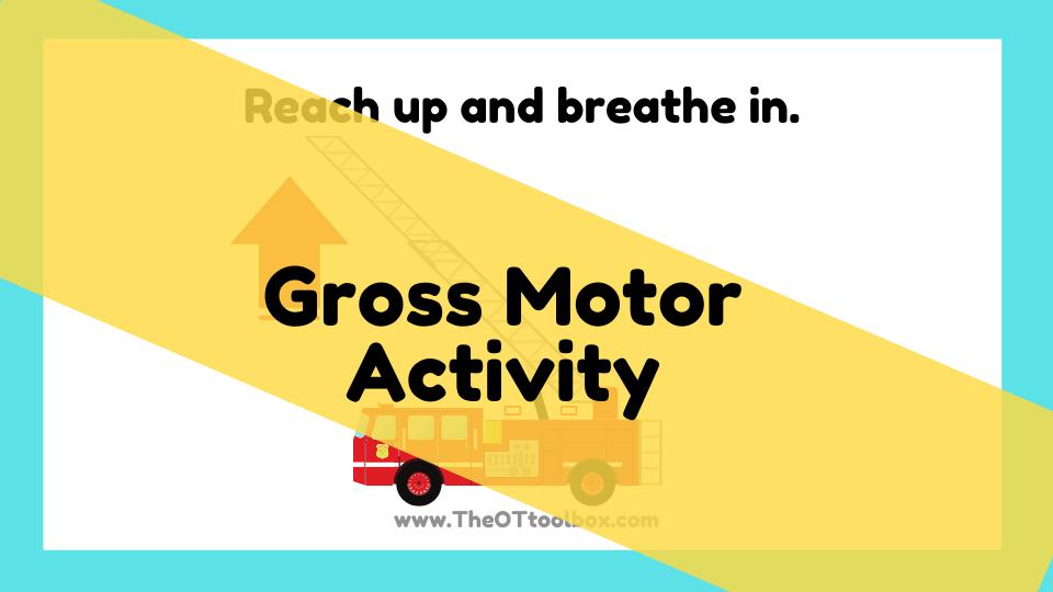 Gross motor activity for the community helper theme slide deck.