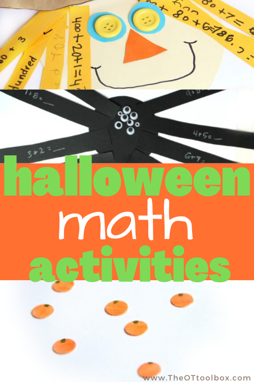 Halloween math activities to work on addition, subtraction, fact families, near doubles, and other math skills with a Halloween theme.