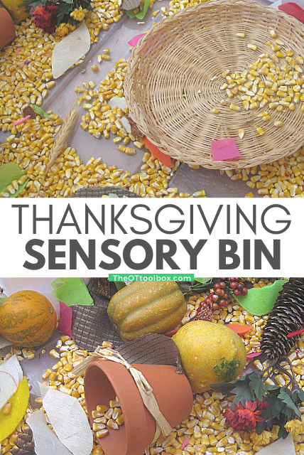 Thanksgiving sensory bin for kids to play and explore textures while building fine motor skills.