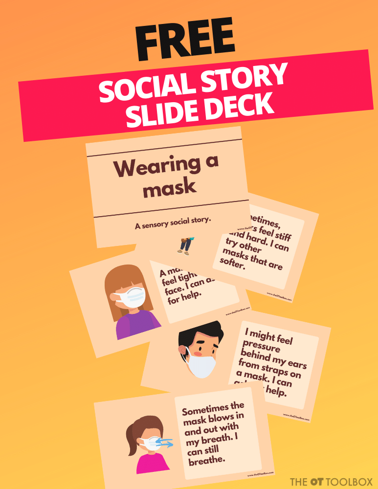 use this free mask social story in teletherapy or to help kids with sensory needs adjust to wearing a mask by offering other alternatives that meet their sensory needs.