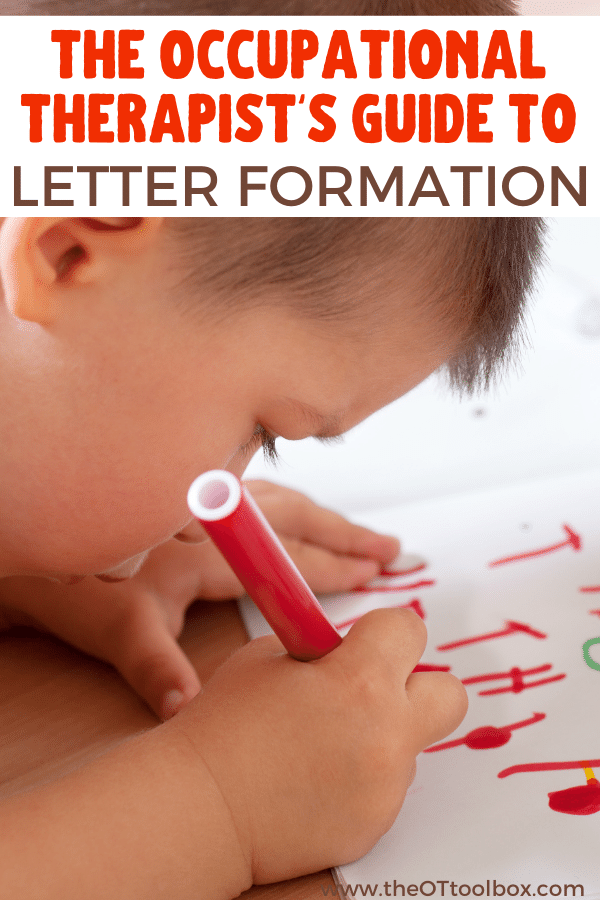 Pediatric Occupational therapists work on handwriting and letter formation with kids