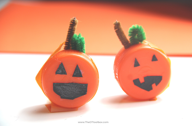 Cute mini pumpkin craft using recycled bottle caps.
