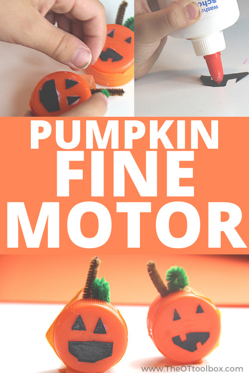 Pumpkin craft that helps kids build fine motor skills, using recycled bottle caps.