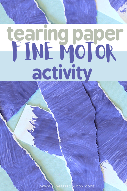 tearing paper is a fine motor skills workout for kids.