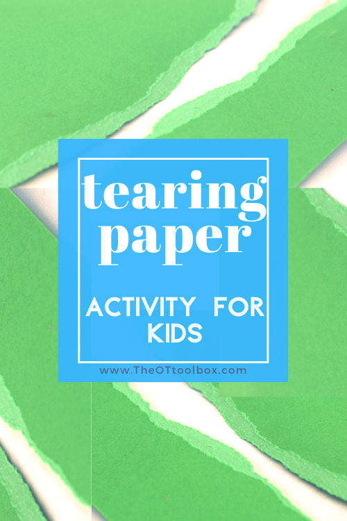 Tearing paper is an amazing fine motor activity for kids to build coordination and hand strength.