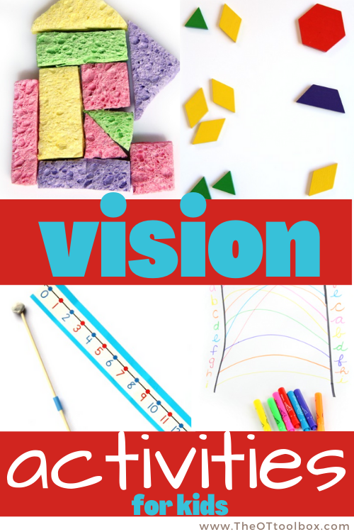 Vision activities for kids to improve visual perception, visual efficiency, visual motor skills, eye-hand coordination, and more.