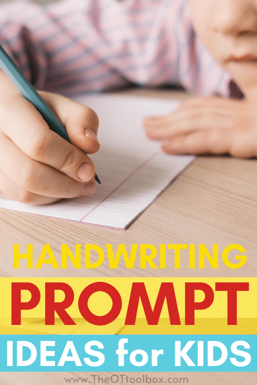 Writing prompts for kids to use for handwriting practice and creative writing ideas.