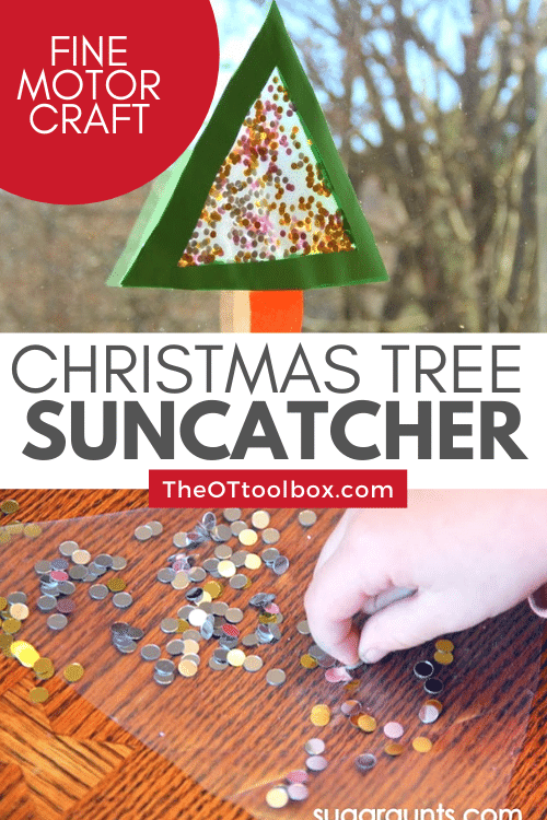 Christmas suncatcher is a great fine motor Christmas activity for kids. They can make the Christmas tree sun catcher and hang it in the window.
