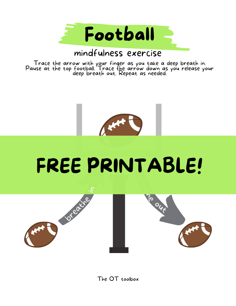 free mindfulness worksheet with a football theme