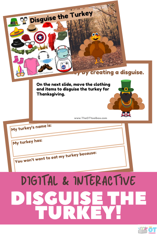 This disguise the turkey project includes an interactive slide deck to decorate the turkey with costumes, and a writing prompt to use in therapy or learning activities.