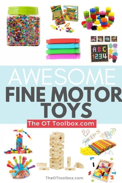 These fine motor toys are therapy toys that help kids build motor skills like hand strength, coordination, and more.