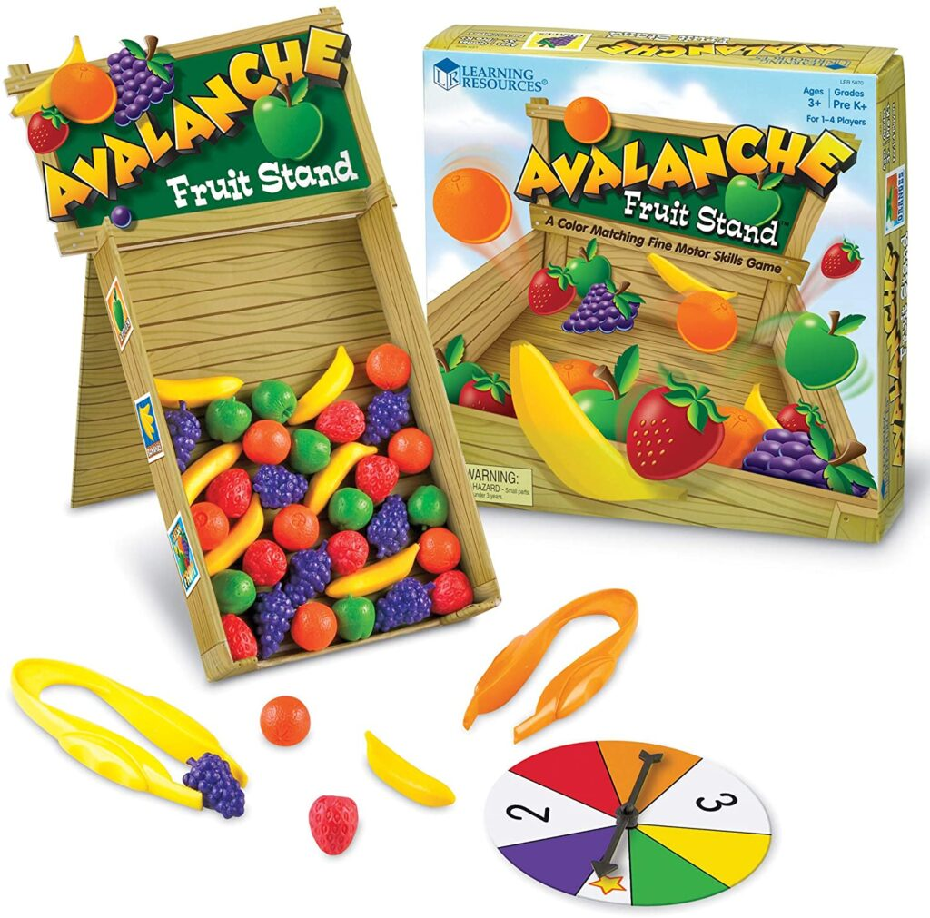 Build fine motor skills with this Avalanche Fruit Stand game that helps with fine motor skills.