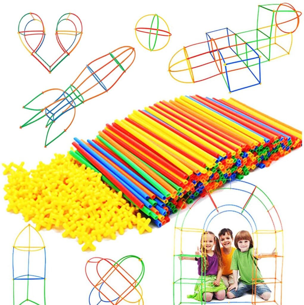 A straw construction toy is great for fine motor skill development.