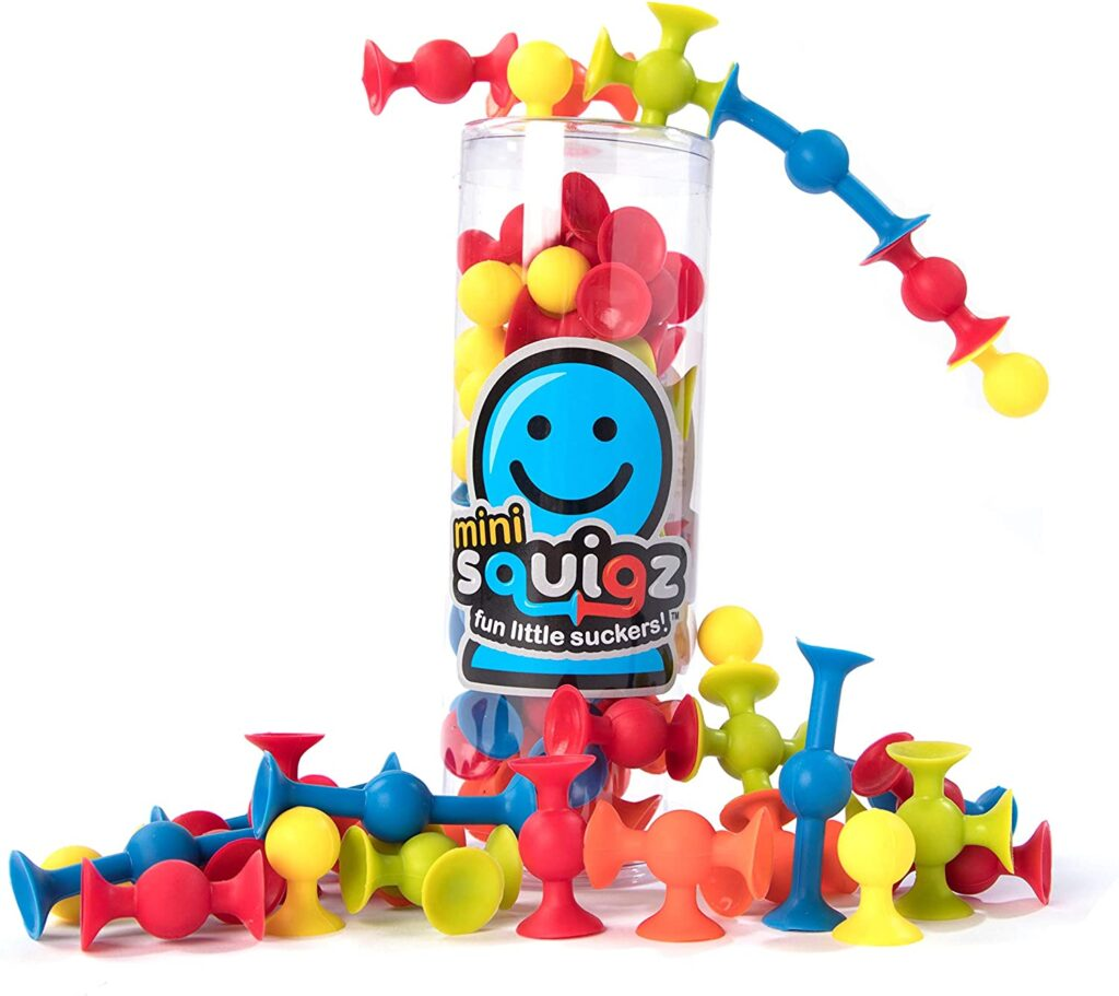 Use squigz to help kids build hand strength.