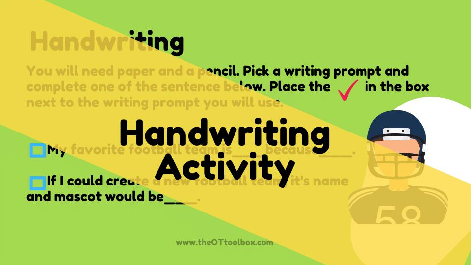 Football theme slide deck to help kids work on handwriting.