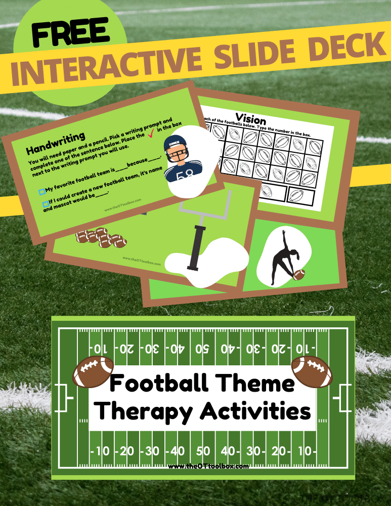 Football theme activities slide deck for therapy