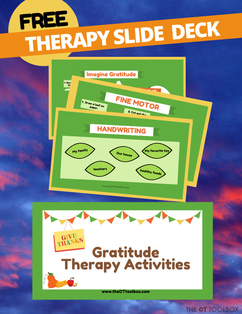 Teaching gratitude is easy with this gratitude activity slide deck for virtual therapy.